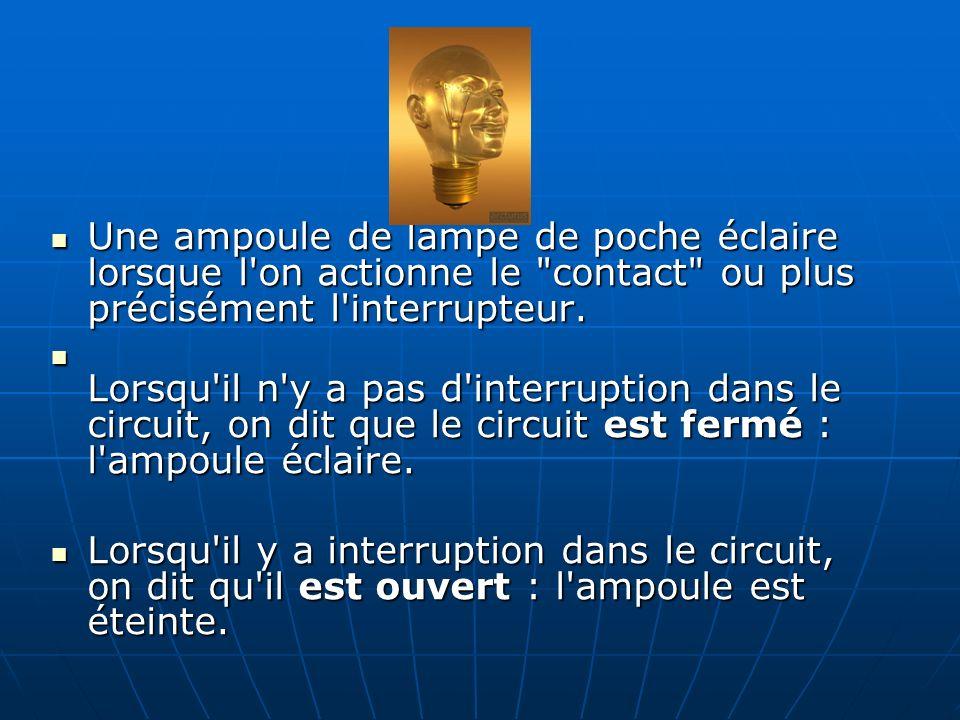 Une ampoule de lampe de poche éclaire lorsque l on actionne le contact ou plus précisément l interrupteur.