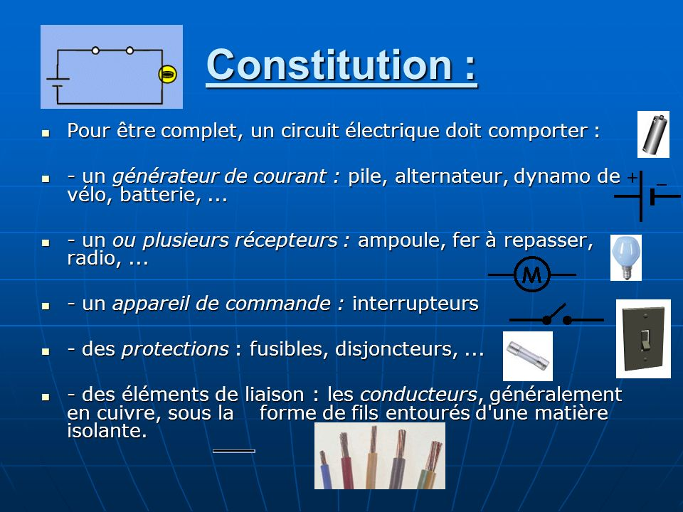 Constitution : Pour être complet, un circuit électrique doit comporter :