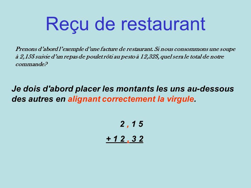 Reçu de restaurant