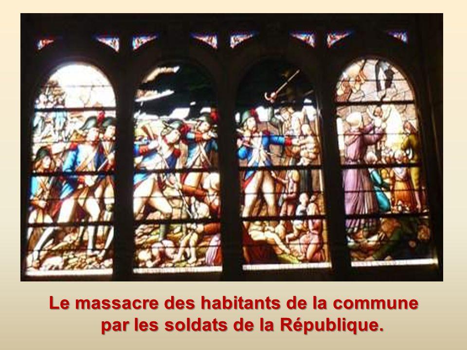 Le massacre des habitants de la commune par les soldats de la République.