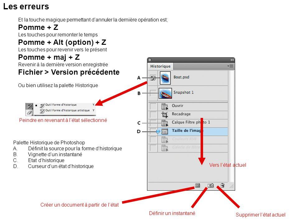 Les erreurs Pomme + Z Pomme + Alt (option) + Z Pomme + maj + Z