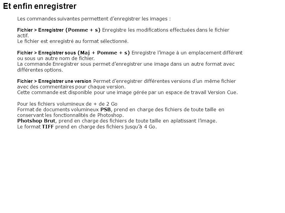 Et enfin enregistrer Les commandes suivantes permettent d'enregistrer les images :