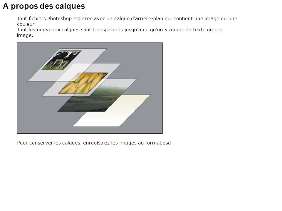 A propos des calques Tout fichiers Photoshop est créé avec un calque d'arrière-plan qui contient une image ou une couleur.