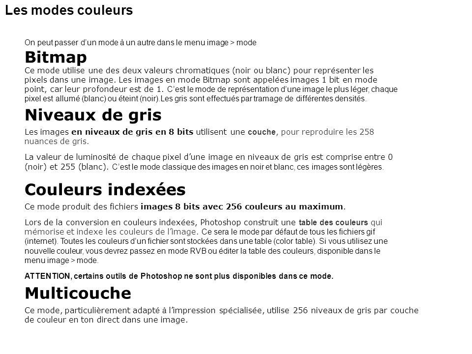 Bitmap Niveaux de gris Couleurs indexées Multicouche
