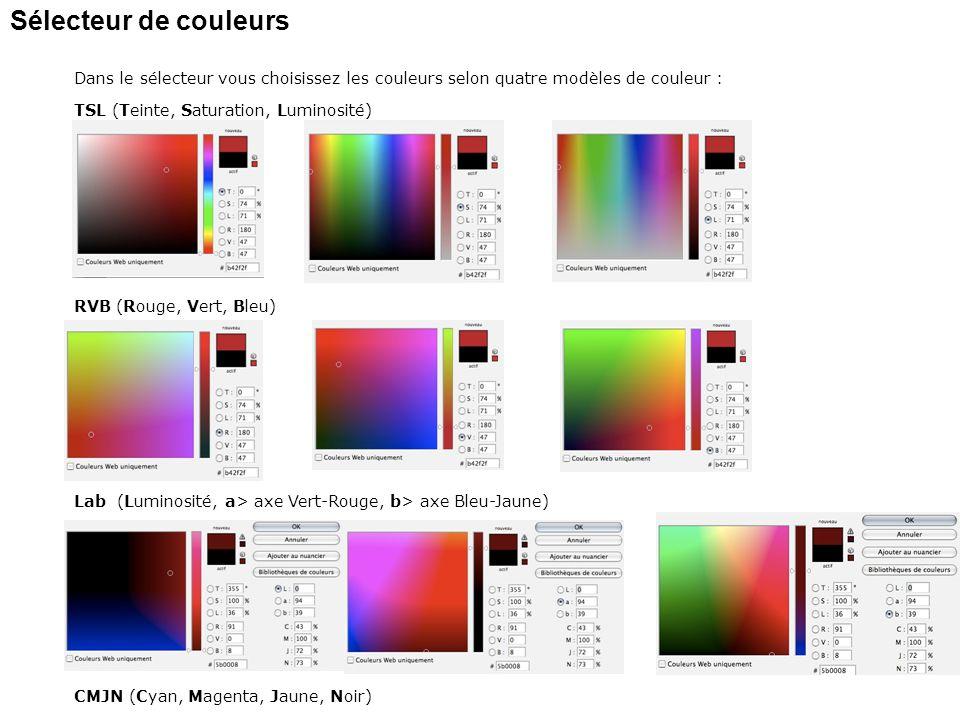 Sélecteur de couleurs Dans le sélecteur vous choisissez les couleurs selon quatre modèles de couleur :