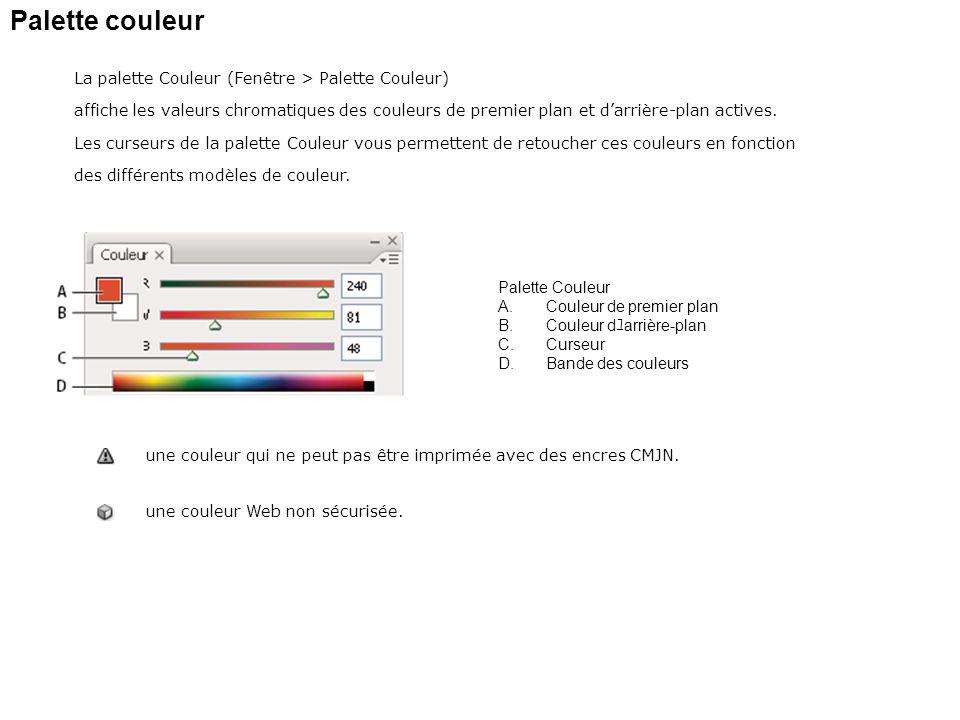 Palette couleur La palette Couleur (Fenêtre > Palette Couleur)