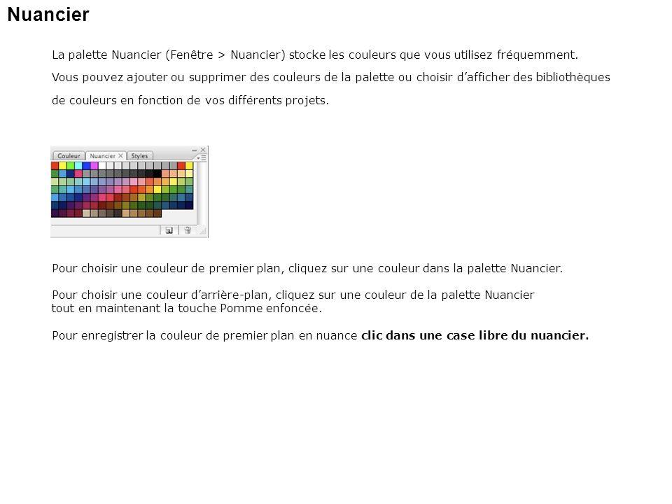 Nuancier La palette Nuancier (Fenêtre > Nuancier) stocke les couleurs que vous utilisez fréquemment.