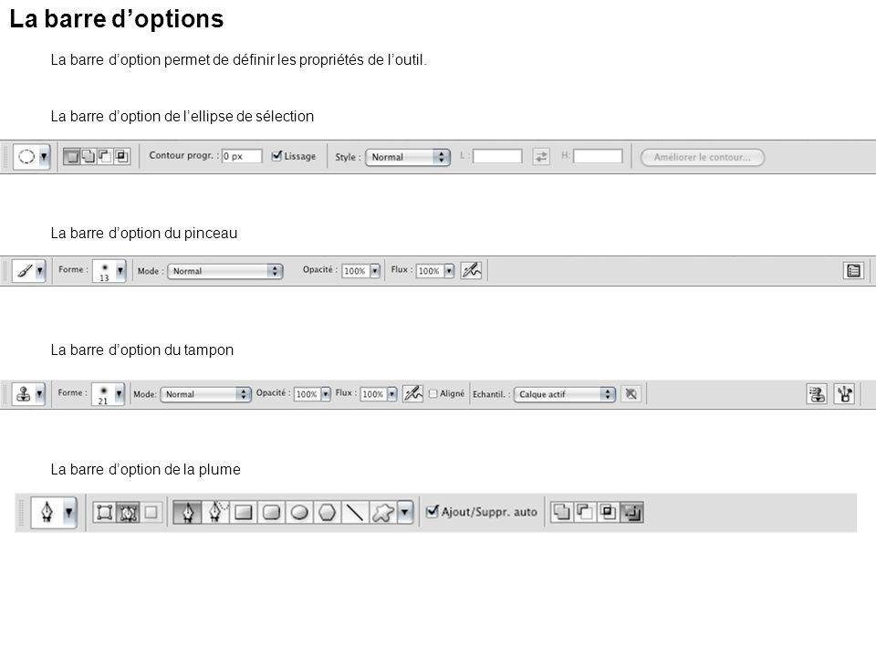 La barre d'options La barre d'option permet de définir les propriétés de l'outil. La barre d'option de l'ellipse de sélection.