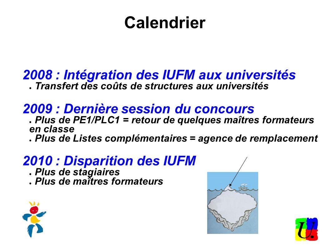 Calendrier 2008 : Intégration des IUFM aux universités