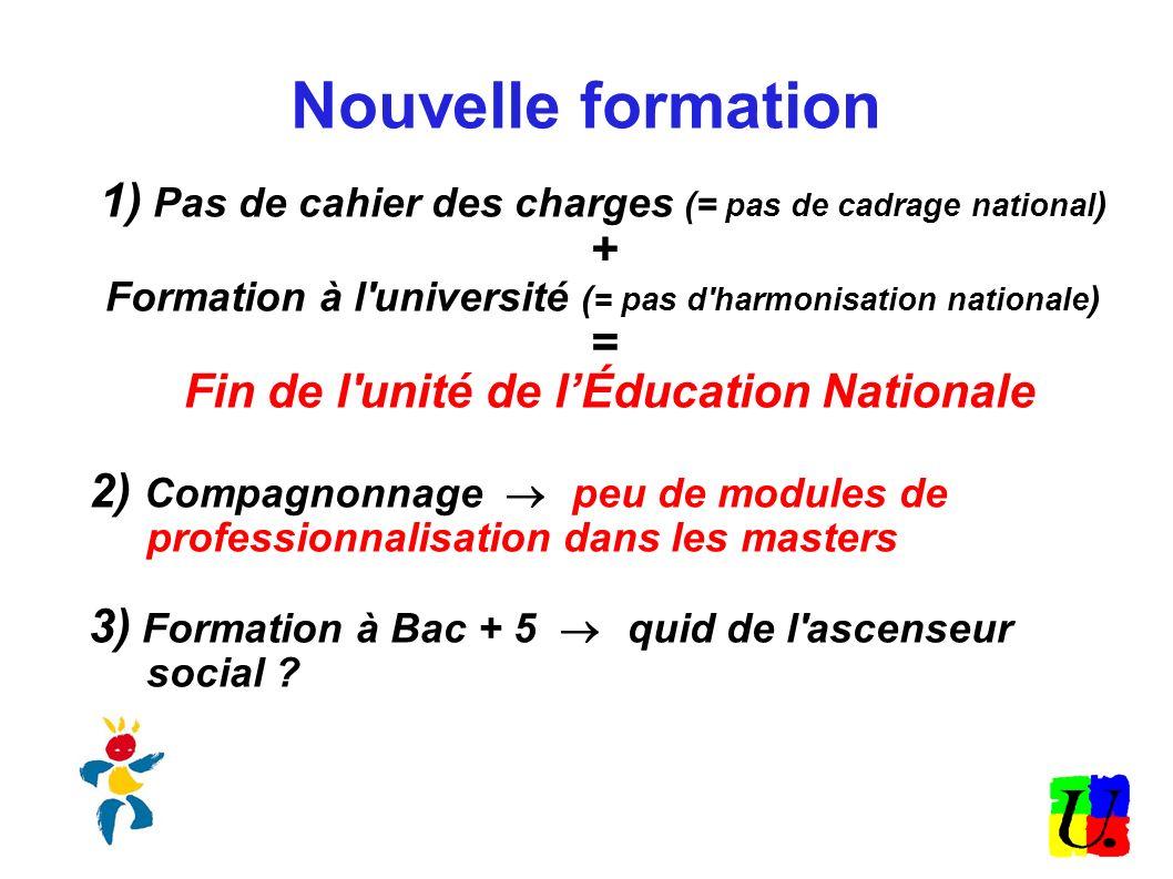 Nouvelle formation 1) Pas de cahier des charges (= pas de cadrage national) + Formation à l université (= pas d harmonisation nationale)