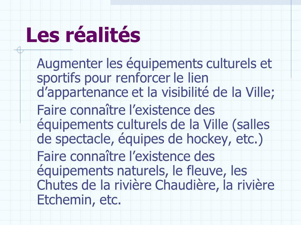 Les réalités Augmenter les équipements culturels et sportifs pour renforcer le lien d'appartenance et la visibilité de la Ville;