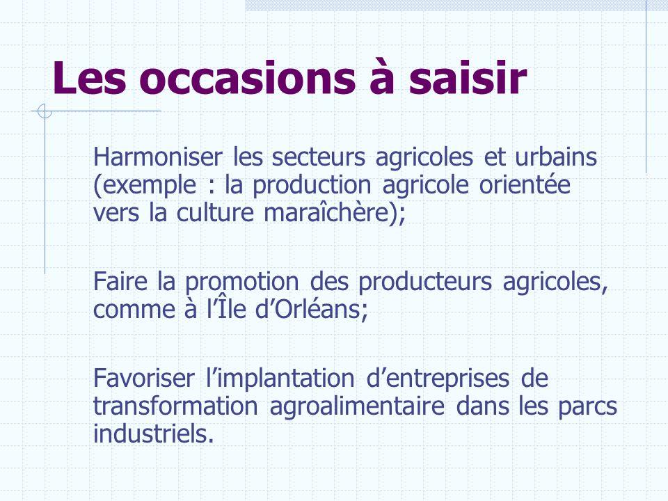 Les occasions à saisir Harmoniser les secteurs agricoles et urbains (exemple : la production agricole orientée vers la culture maraîchère);