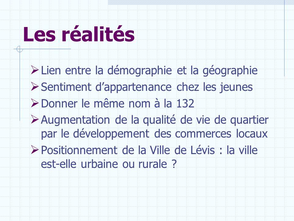 Les réalités Lien entre la démographie et la géographie