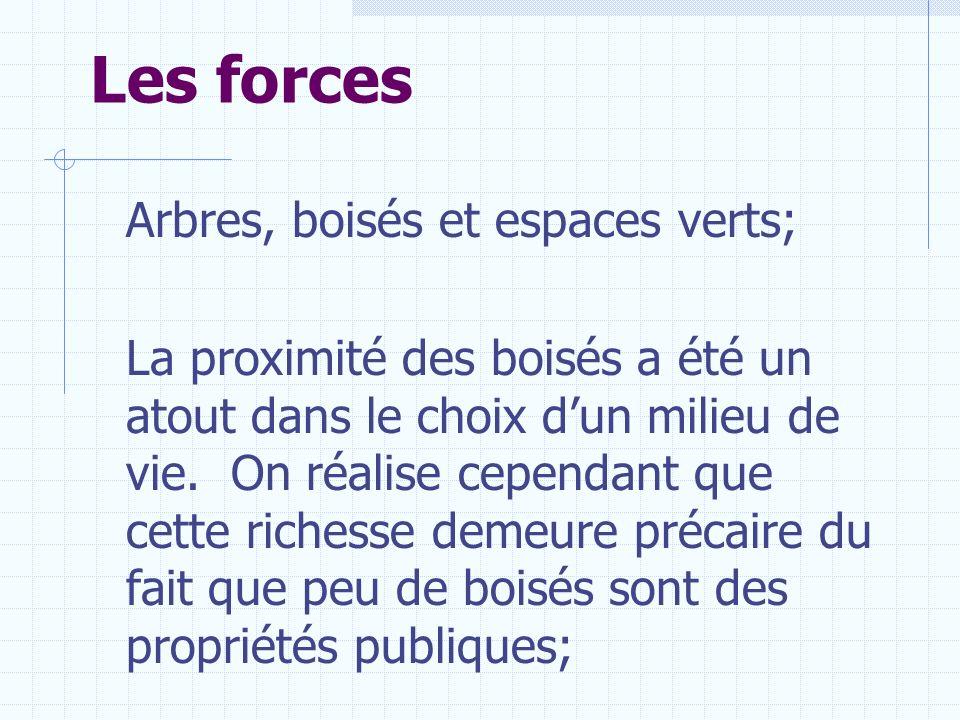 Les forces Arbres, boisés et espaces verts;