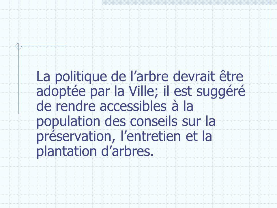 La politique de l'arbre devrait être adoptée par la Ville; il est suggéré de rendre accessibles à la population des conseils sur la préservation, l'entretien et la plantation d'arbres.