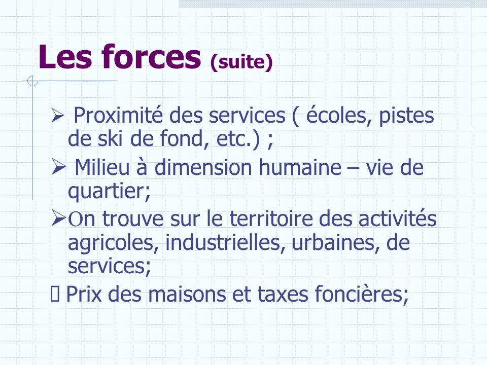 Les forces (suite) Milieu à dimension humaine – vie de quartier;