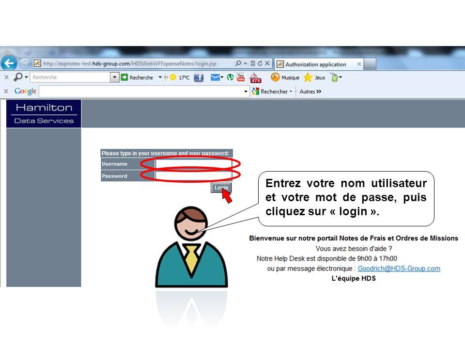 Entrez votre nom utilisateur et votre mot de passe, puis cliquez sur « login ».