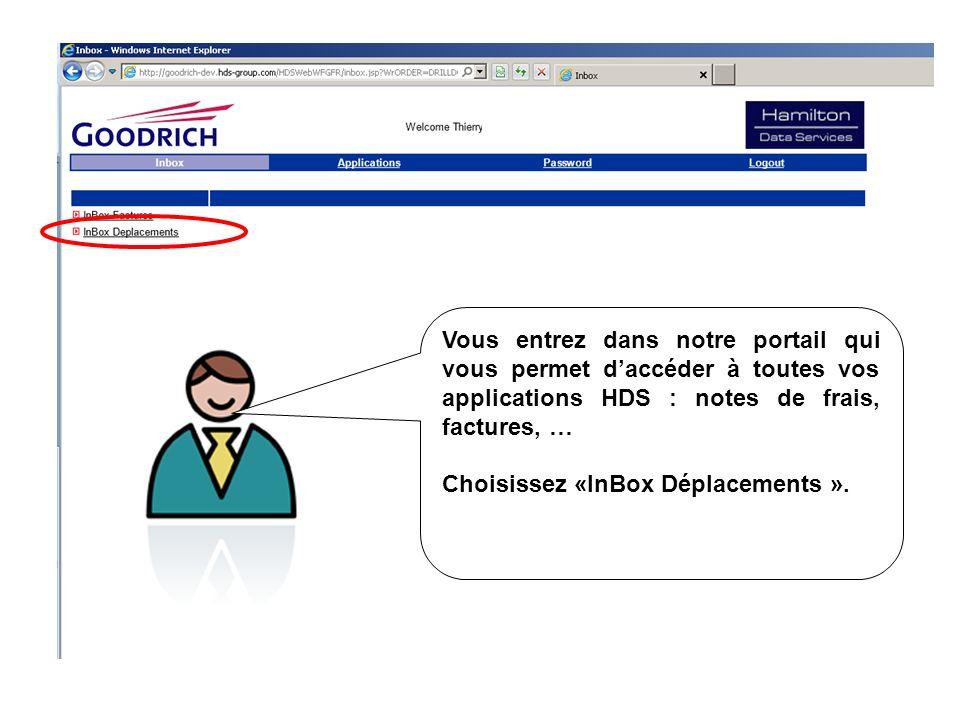 Vous entrez dans notre portail qui vous permet d'accéder à toutes vos applications HDS : notes de frais, factures, …