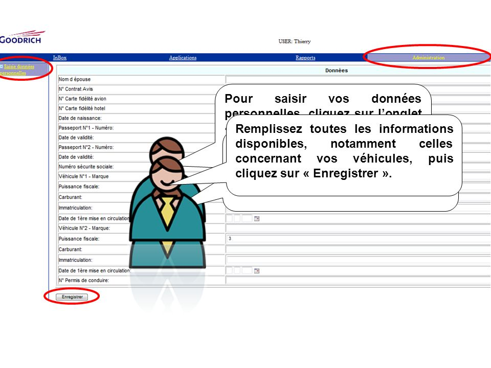 Pour saisir vos données personnelles, cliquez sur l'onglet « Administration » puis à gauche sur « saisie données personnelles »