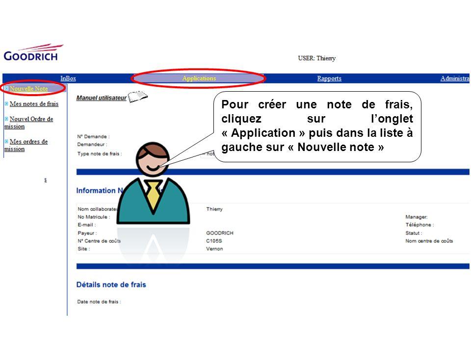 Pour créer une note de frais, cliquez sur l'onglet « Application » puis dans la liste à gauche sur « Nouvelle note »
