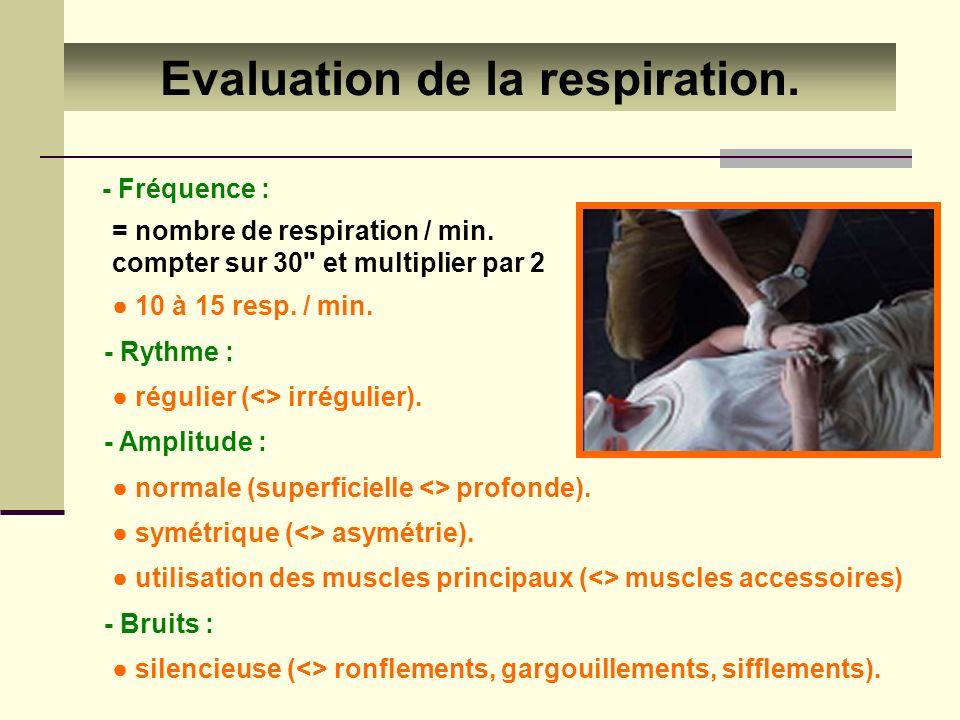 Evaluation de la respiration.