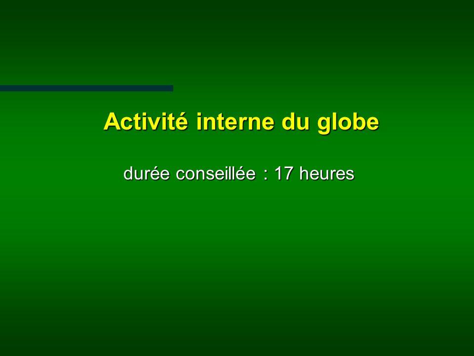 Activité interne du globe durée conseillée : 17 heures