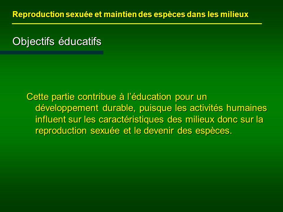 Reproduction sexuée et maintien des espèces dans les milieux