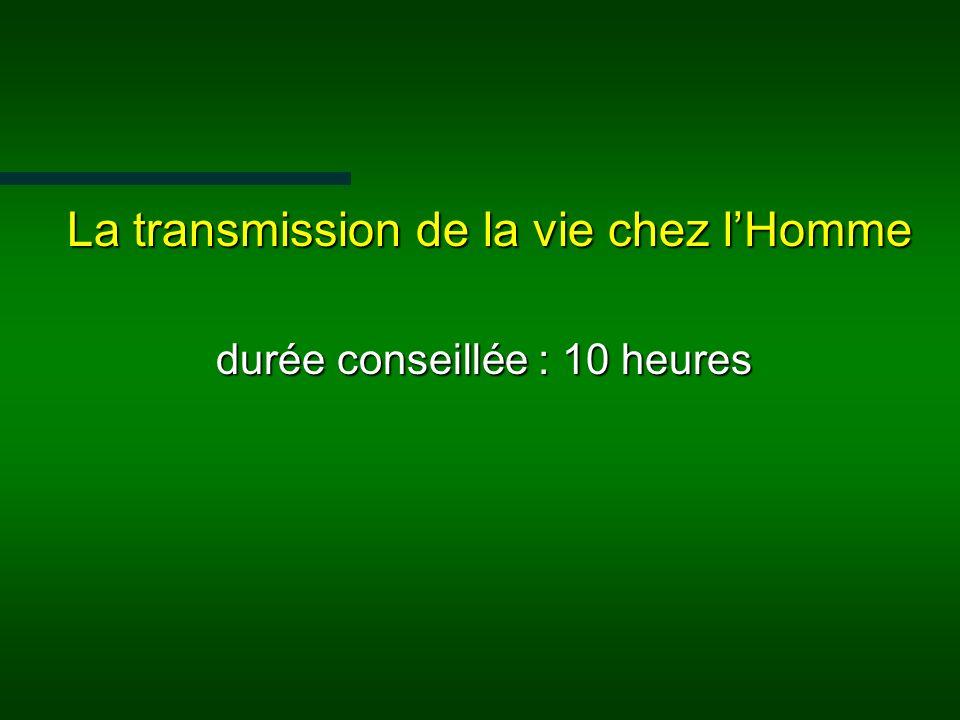 La transmission de la vie chez l'Homme durée conseillée : 10 heures