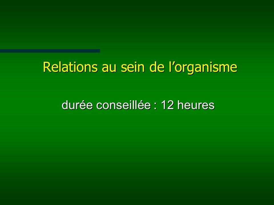 Relations au sein de l'organisme durée conseillée : 12 heures