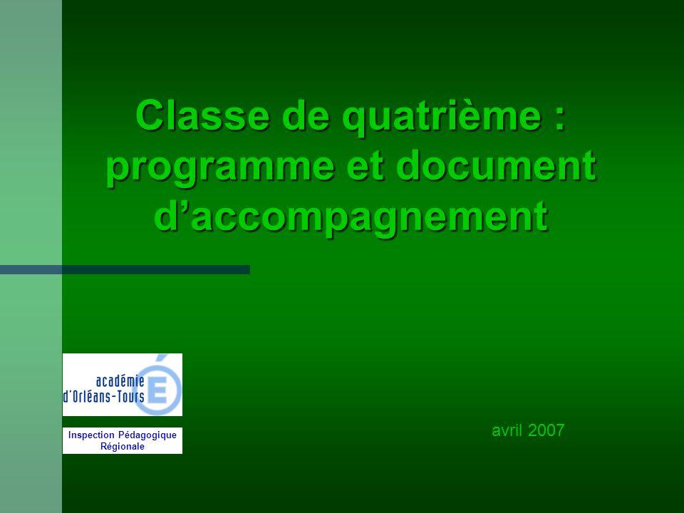 Classe de quatrième : programme et document d'accompagnement