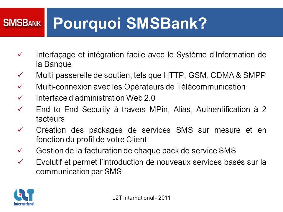 Pourquoi SMSBank Interfaçage et intégration facile avec le Système d'Information de la Banque.
