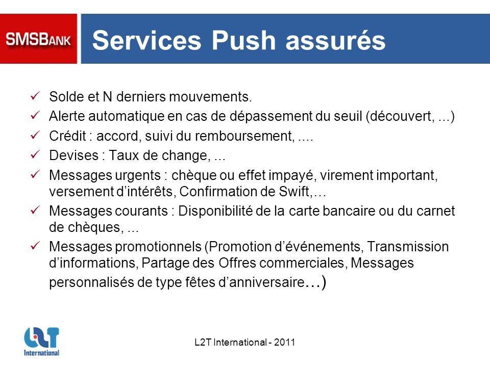 Services Push assurés Solde et N derniers mouvements.