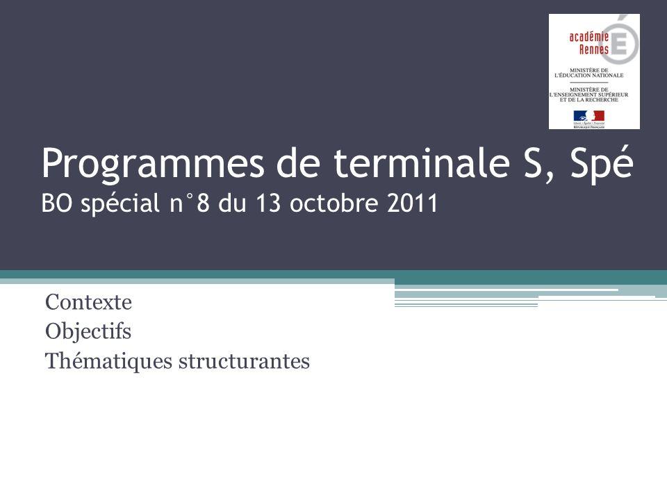 Programmes de terminale S, Spé BO spécial n°8 du 13 octobre 2011