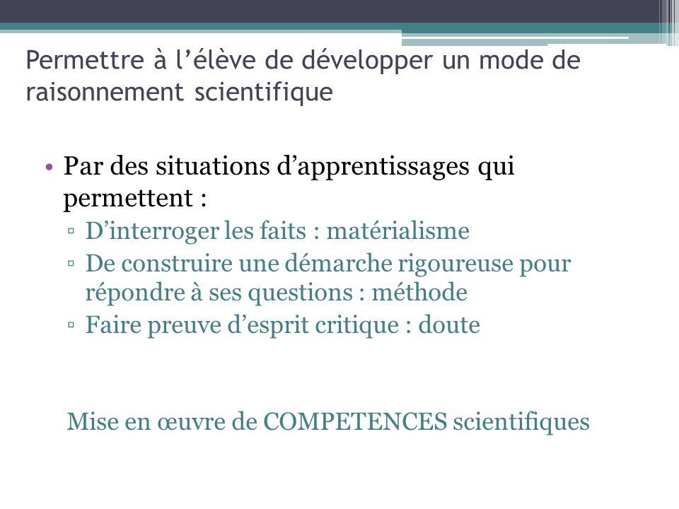 Permettre à l'élève de développer un mode de raisonnement scientifique