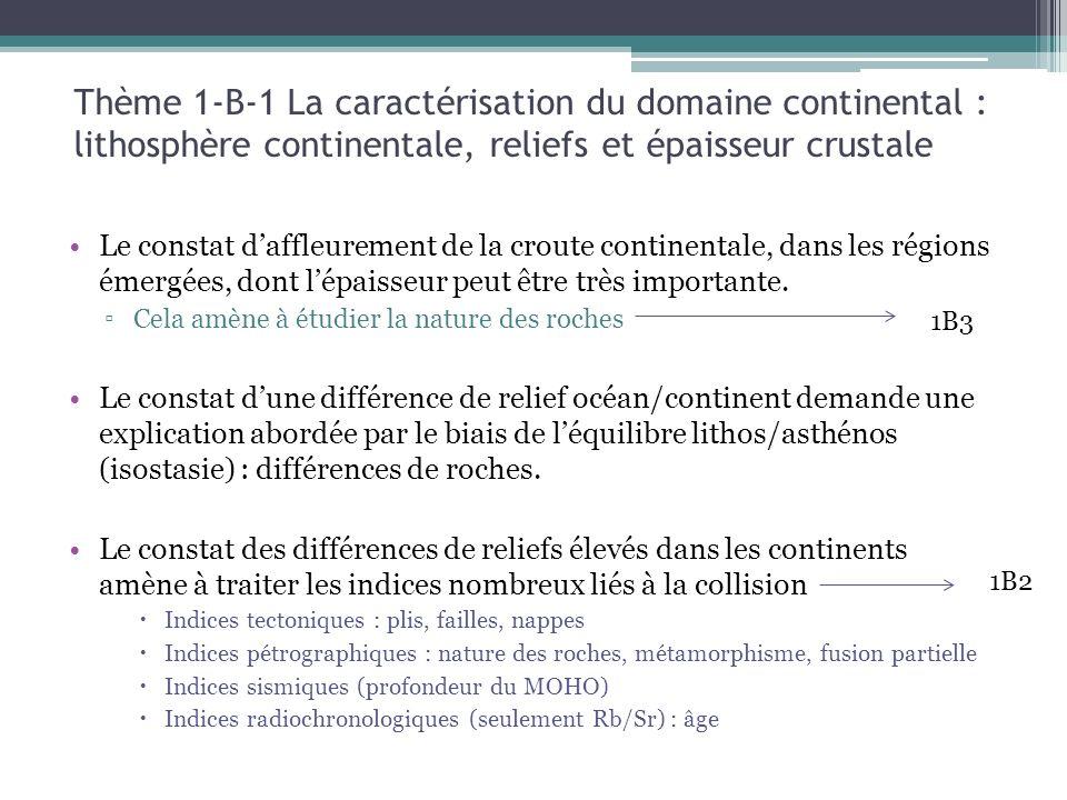 Thème 1-B-1 La caractérisation du domaine continental : lithosphère continentale, reliefs et épaisseur crustale