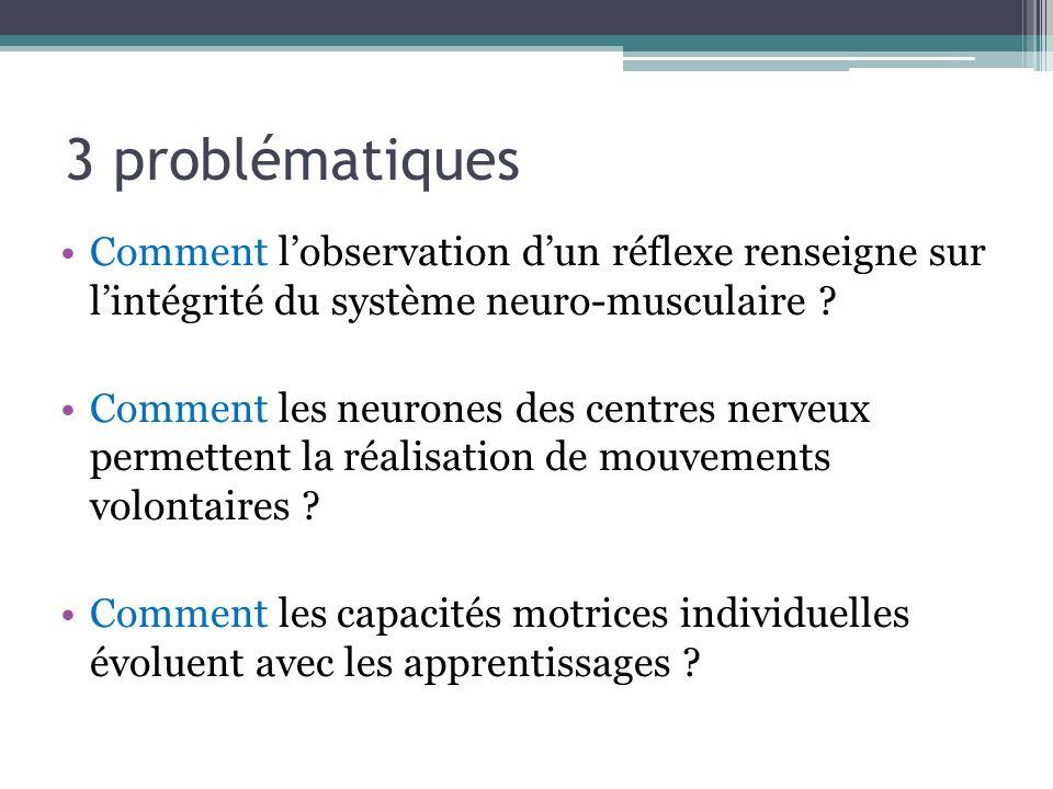 3 problématiques Comment l'observation d'un réflexe renseigne sur l'intégrité du système neuro-musculaire