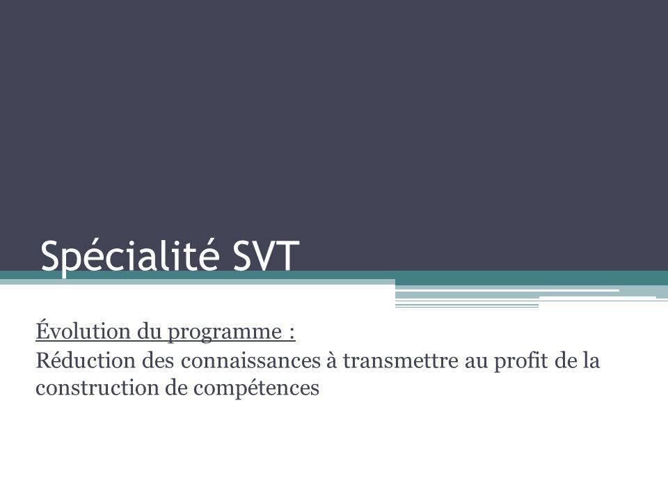 Spécialité SVT Évolution du programme :