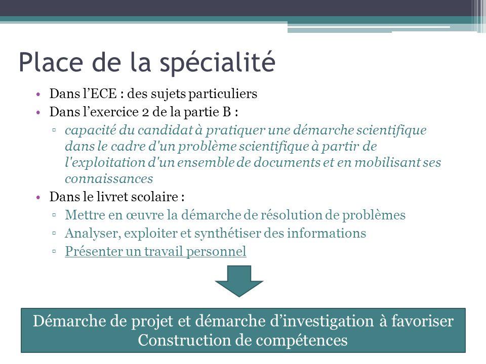 Place de la spécialité Dans l'ECE : des sujets particuliers. Dans l'exercice 2 de la partie B :