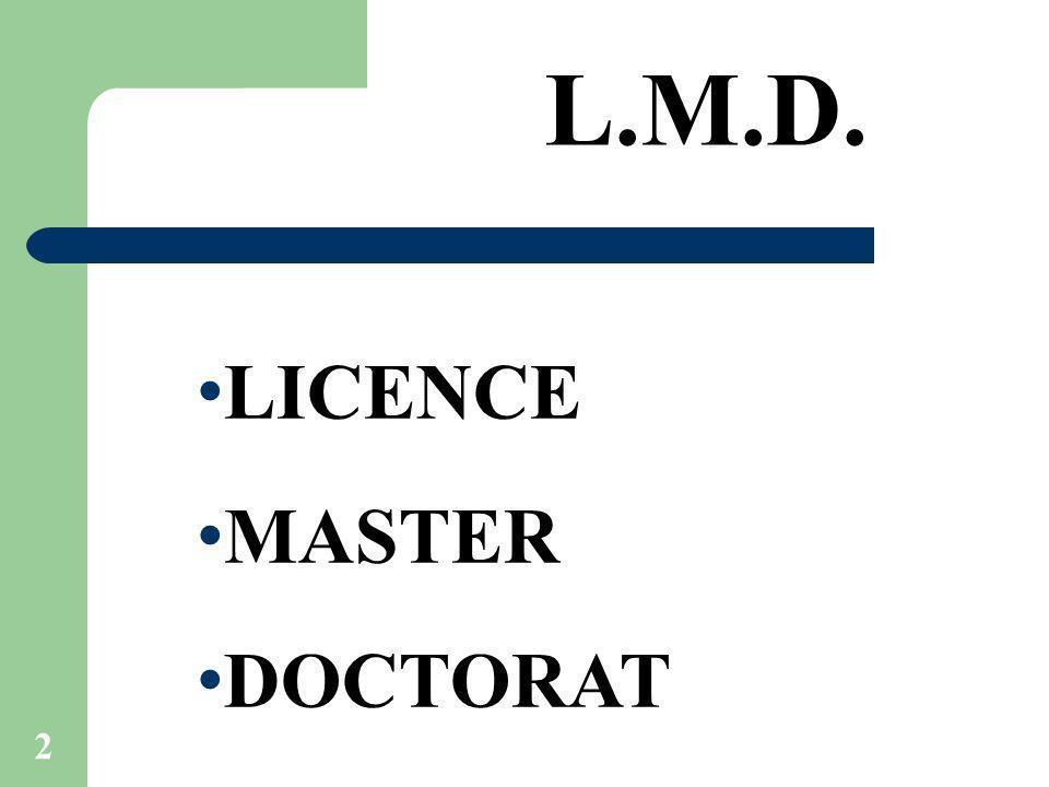 L.M.D. LICENCE MASTER DOCTORAT