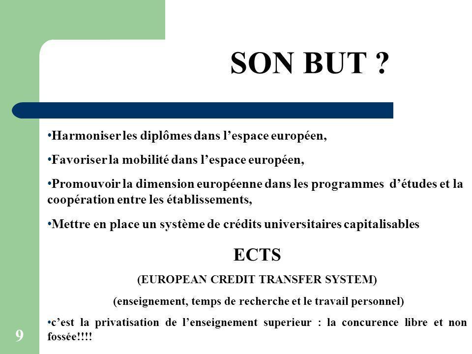 SON BUT ECTS Harmoniser les diplômes dans l'espace européen,