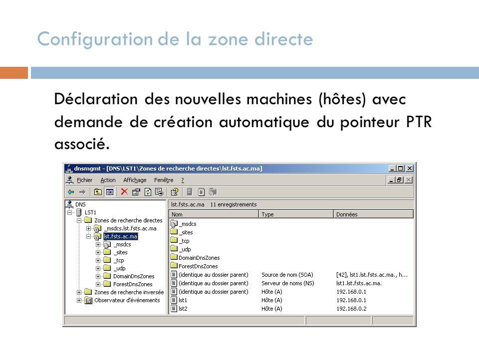 Configuration de la zone directe