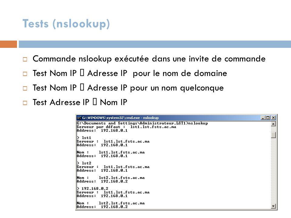 Tests (nslookup) Commande nslookup exécutée dans une invite de commande. Test Nom IP Æ Adresse IP pour le nom de domaine.