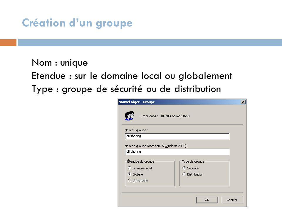 Création d'un groupe Nom : unique Etendue : sur le domaine local ou globalement Type : groupe de sécurité ou de distribution.