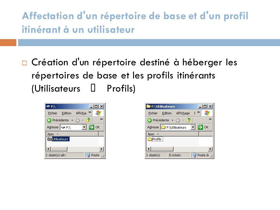 Affectation d un répertoire de base et d un profil itinérant à un utilisateur