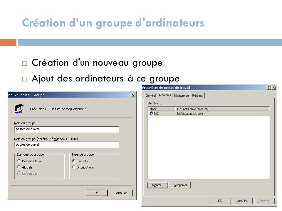 Création d'un groupe d ordinateurs