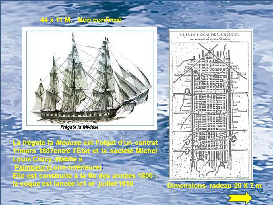 44 x 11 M. Non confirmé La frégate la Méduse est l objet d un contrat 11mars 1807entre l État et la société Michel Louis Crucy, établie à.