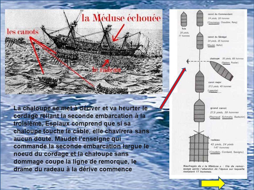 La chaloupe se met à dériver et va heurter le cordage reliant la seconde embarcation à la troisième, Espiaux comprend que si sa chaloupe touche le câble, elle chavirera sans aucun doute.