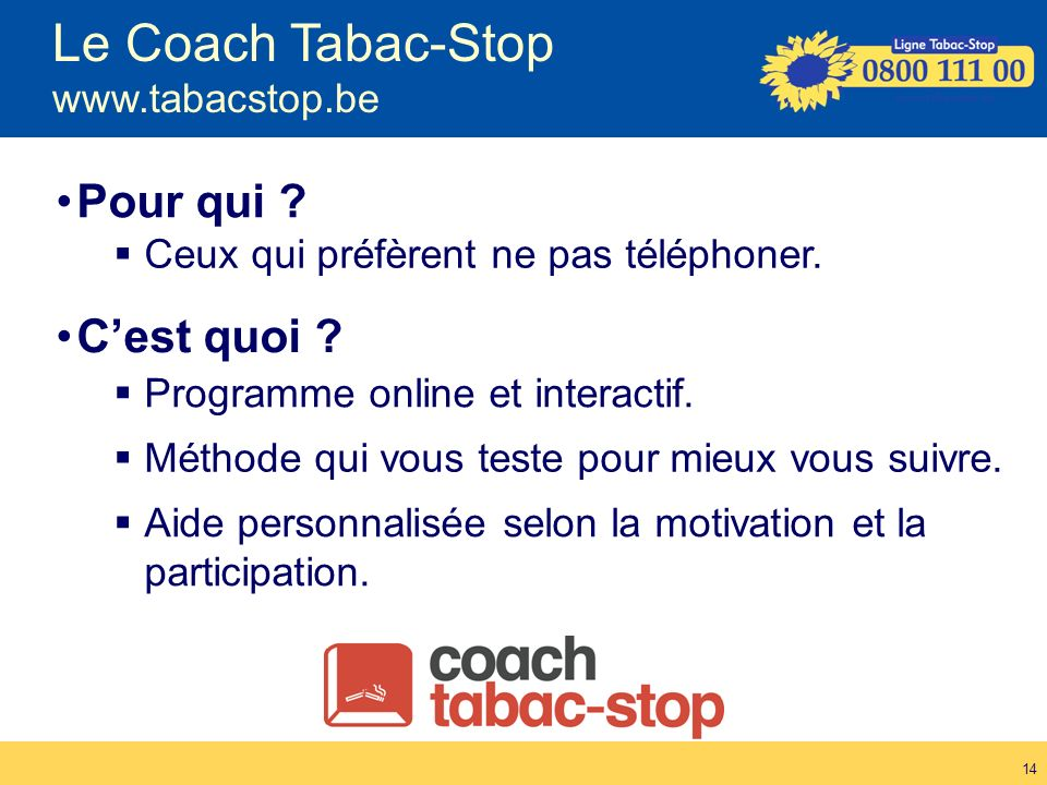 Le Coach Tabac-Stop www.tabacstop.be