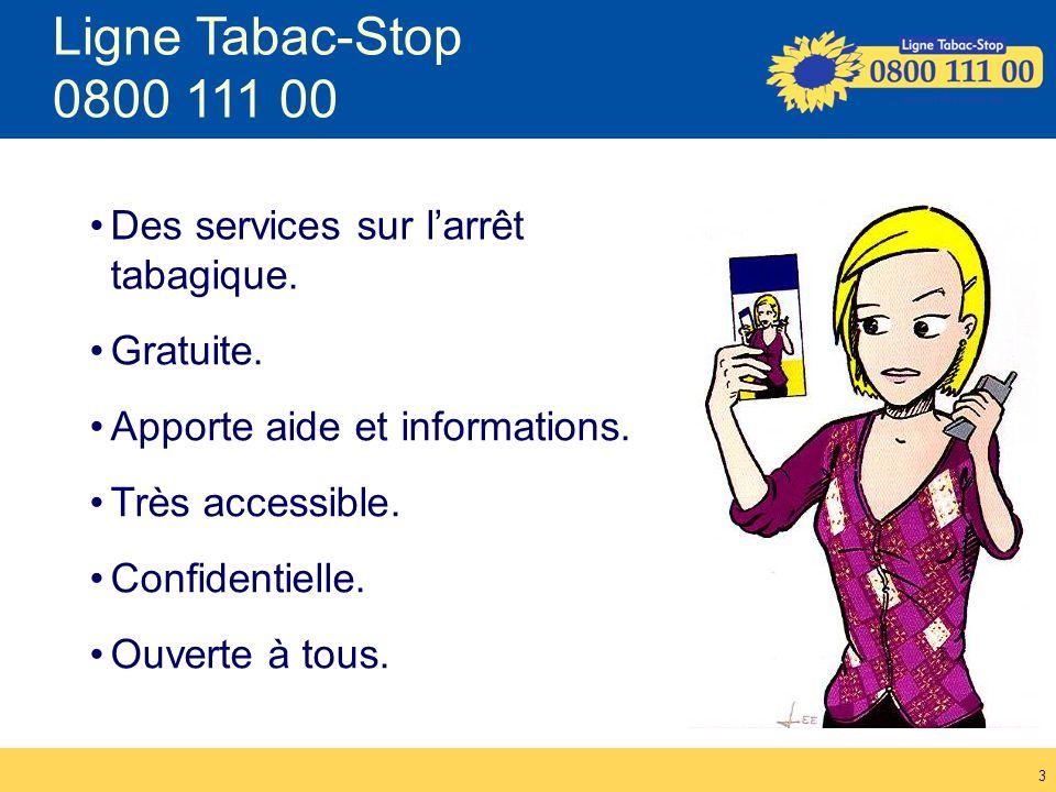 Ligne Tabac-Stop 0800 111 00 Des services sur l'arrêt tabagique.