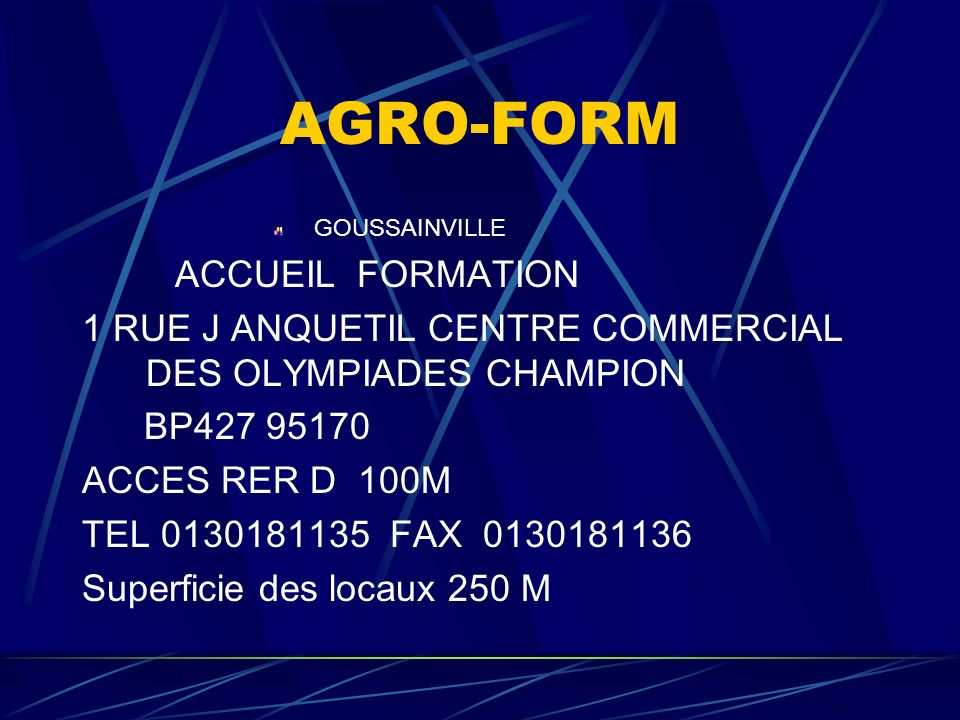 AGRO-FORM ACCUEIL FORMATION